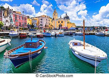 procida, italie, coloré, île