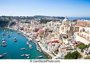 Panoramic view of Procida Isle, in Naples Gulf, Italy