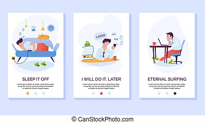 Procrastination and wasting time mobile website vector template. Laziness and social media addiction smartphone web page interface with walkthrough steps instructions