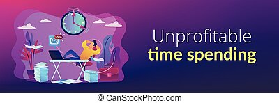 Procrastinating businessman sitting with legs on office desk postponing work. Procrastination, unprofitable time spending, useless pastime concept. Header or footer banner template with copy space.