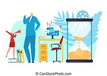 Procrastination concept, businessman procrastinating work in office, vector illustration. Time procrastinated on sandglass. Business time management. Lazy manager and work task deadline.