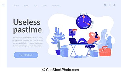 Procrastinating businessman sitting with legs on office desk postponing work. Procrastination, unprofitable time spending, useless pastime concept. Website vibrant violet landing web page template.