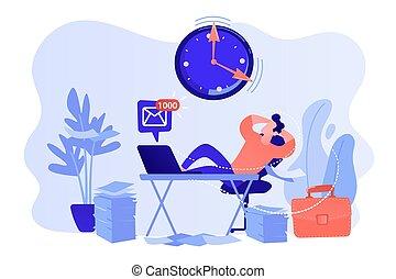 Procrastinating businessman sitting with legs on office desk postponing work. Procrastination, unprofitable time spending, useless pastime concept. Pinkish coral bluevector isolated illustration