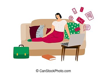 Procrastination concept. Vector illustration with relaxing girl on sofa, cat, laptop. Delay work and procrastination worker with pet on sofa