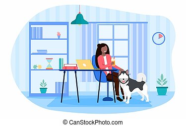 Procrastination concept with woman relaxing with her pet dog putting off her tasks as the clocks ticks by above her head, colored vector illustration