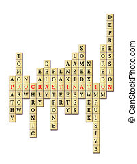 Procrastination arrange in a crossword puzzle with...