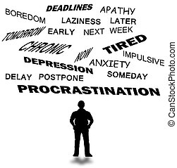 Procrastination with related words in a white background.