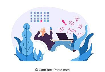 Procrastination vector concept. Man postpones work for later. Office procrastination employee, workplace pastime illustration