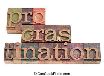 procrastination word abstract