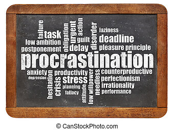 procrastination word cloud on a vintage blackboard isolated...
