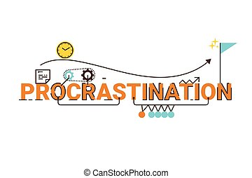 Procrastination word lettering typography design illustration with line icons and ornaments in cheerful yellow theme