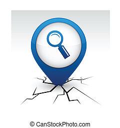 procurar, ícone, crack., azul