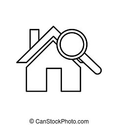 procurar, casa, linha, magra, ícone