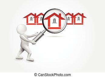 procurar, um, casa, -3d, pequeno, pessoas