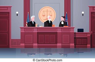 procurator, 内部, 弁護士, 正義, モデル, 肖像画, 法学, 仕事場, 法廷, 法廷, 横, セッション, ユニフォーム, 法律, 概念, 現代, プロセス, 裁判官