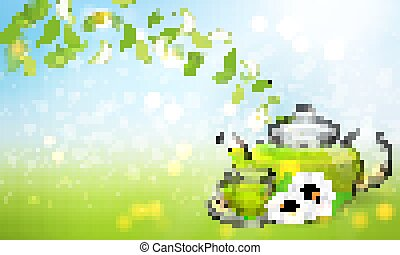 Procurement for the brochure of chamomile tea with a transparent glass teapot and a cup. Vector illustration, 3d.