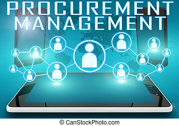 Procurement Management - text illustration with social icons...