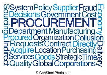 procurement, palavra, nuvem