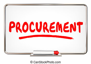 Procurement Process Purchasing System Word on Board 3d Illustration
