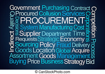 Procurement Word Cloud on Blue Background