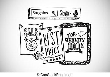prodávat v malém, doodles, složený, prodej, podoba