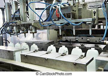prodoction, fabricando, garrafas, plástico