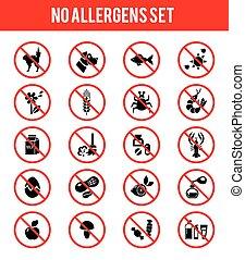 prodotti, allergen, libero, icone