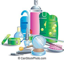prodotti bellezza, cosmetico, illustrazione