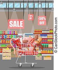 prodotti, cart., supermercato, carne