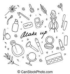 prodotti, femmina, illustrazione, su, visage., bellezza, icona, fare, cura, vettore, accessoires, differente, mano, pelle, set., simboli, collezione, disegnato