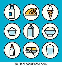 prodotti, latte, icone