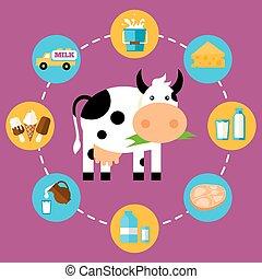 prodotti, latte, infographics