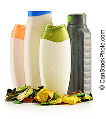 prodotti, plastica, bellezza, corpo, bottiglie, cura