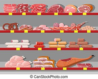 prodotti, shelf., carne, supermercato