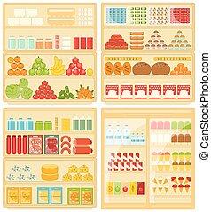 prodotti, supermercato, mensole