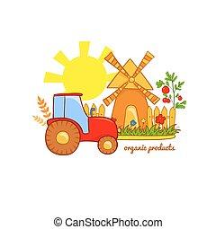 prodotti, vettore, organico, illustrazione