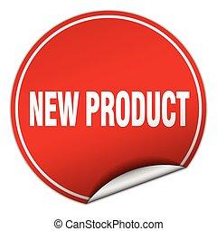 prodotto, adesivo, isolato, nuovo, bianco, rotondo, rosso