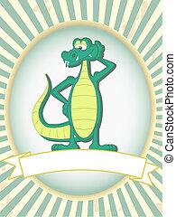 prodotto, alligatore, etichetta, verde, vuoto, proposta, cartone animato