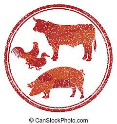 prodotto, carne, segno