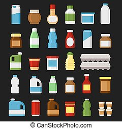 prodotto, cibo, articoli, set., icons., vettore, bibite