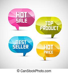 prodotto, cima colorita, etichette, caldo, venditore, vendita, prezzo, meglio