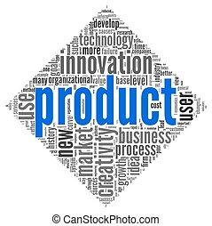 prodotto, concetto, etichetta, nuvola, parole