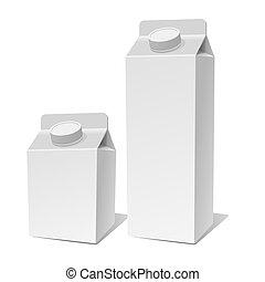 prodotto, contenitore, set., carta, vettore, latte