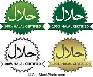 prodotto, etichette, 4, halal