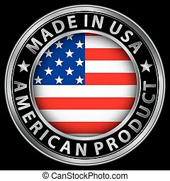 prodotto, fatto, bandiera usa, illustrazione, etichetta, americano, vettore, argento