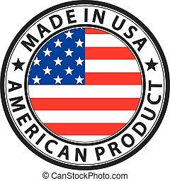 prodotto, fatto, bandiera usa, illustrazione, etichetta, americano, vettore