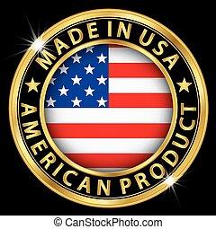 prodotto, fatto, oro, bandiera usa, illustrazione, etichetta, americano, vettore