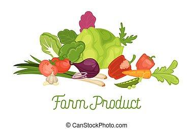 prodotto, fattoria, manifesto, verdura, promozionale, fresco, raccogliere