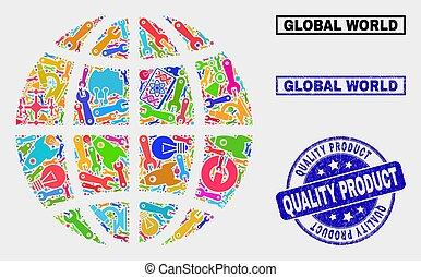 prodotto, francobollo, tecnologia, globo, pianeta, qualità, composizione