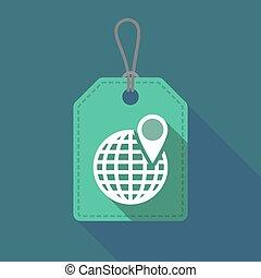 prodotto, globo, lungo, etichetta, mondo, uggia